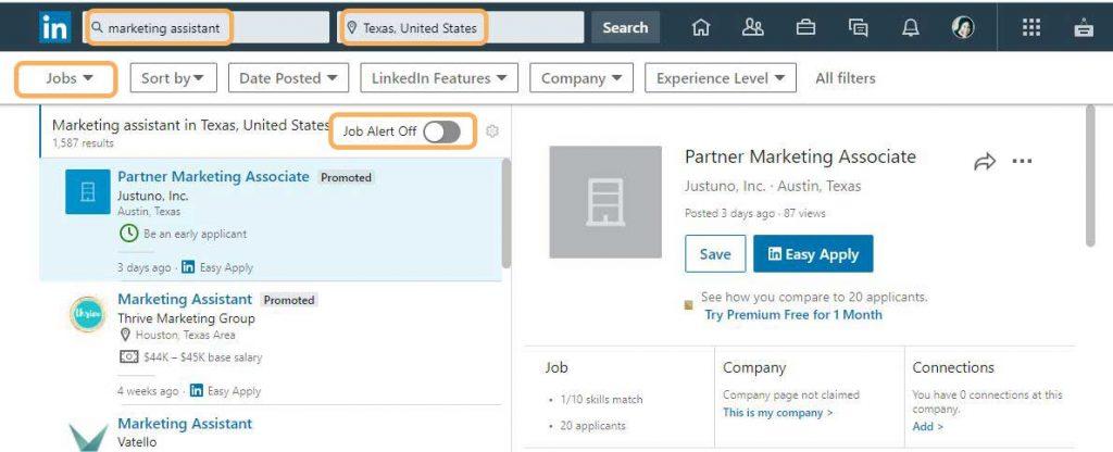 LinkedIn job alert