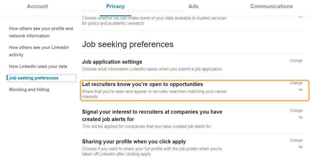 LinkedIn privacy setting