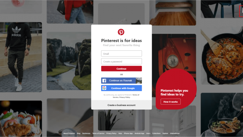 Pinterest website log in