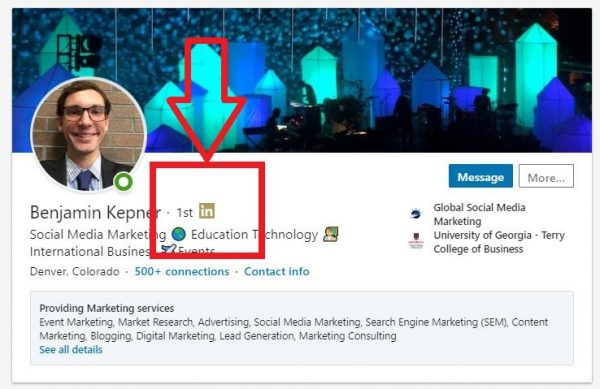1st degree of connections on LinkedIn
