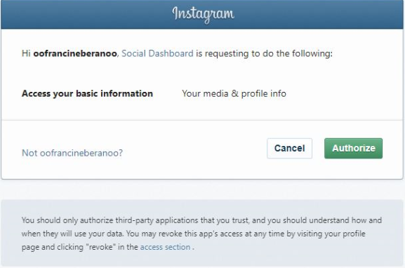 Authorize Inosocial dashboard