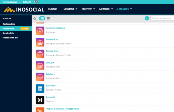 Instagram account added to Inosocial dashboard