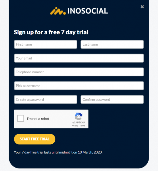 InoSocial signup