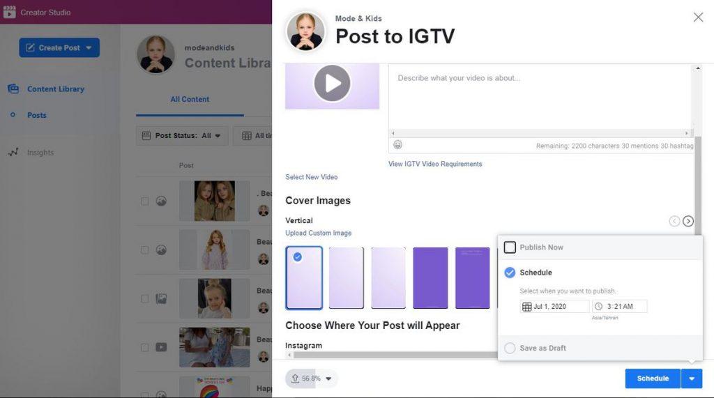 Instagram IGTV scheduler