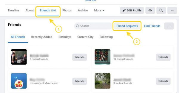 Step 1: Find Friends section on profile